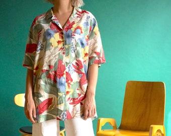 7c1cf39e749f09 Flower shirt   Hawaiian shirt   patterned shirt   vintage shirt   short  sleeves shirt   summer shirt   FCHE18-P E-21