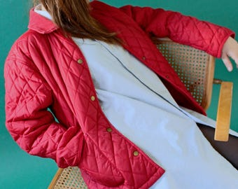 Red quilted jacket / corduroy /