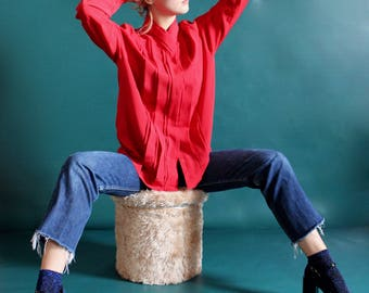 Red women blouse / pleated / fluid / FCHE17-A/H-2