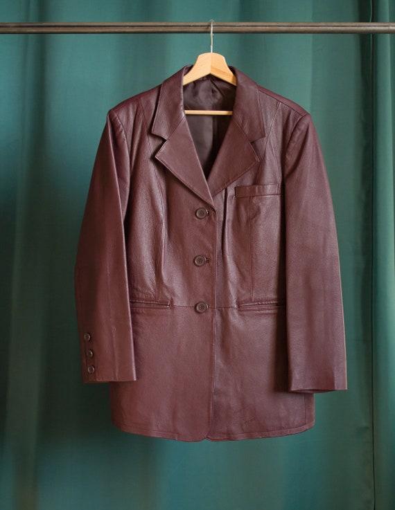 Vintage blazer jacket in red burgundy leather / Vi
