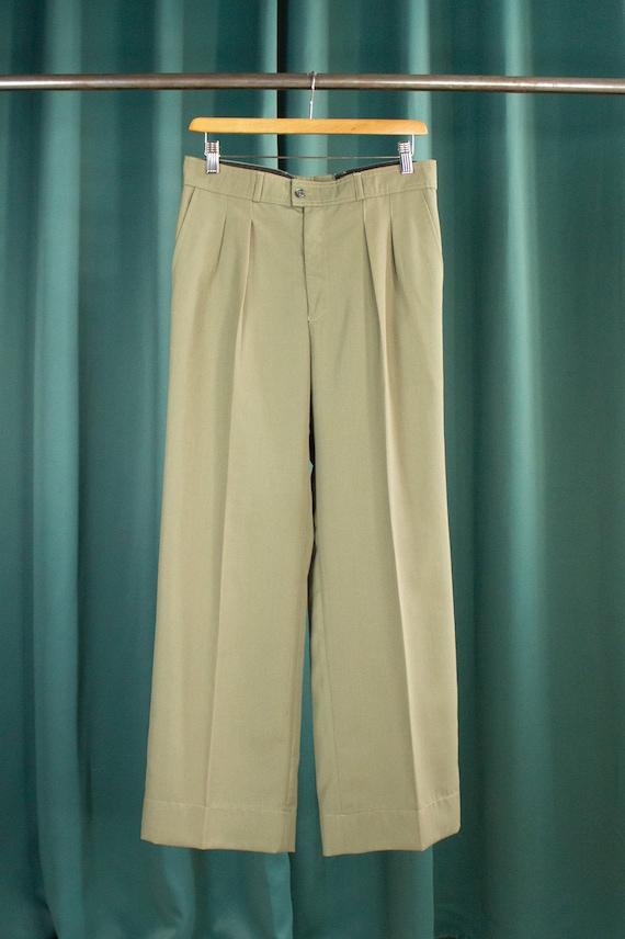 Khaki grey vintage flare pleated trousers