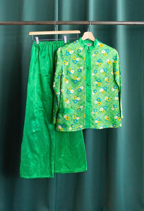 70's floral green vintage set / Satin pyjamas set
