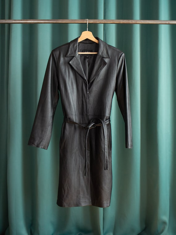 Vintage black leather long jacket / black leather