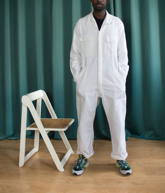 White vintage coveralls / French vintage workwear