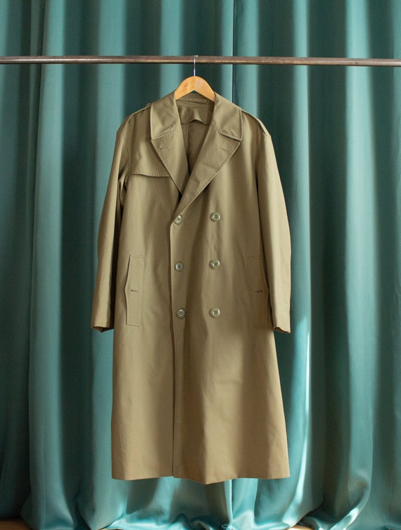 Vintage French military trench coat / Olive green
