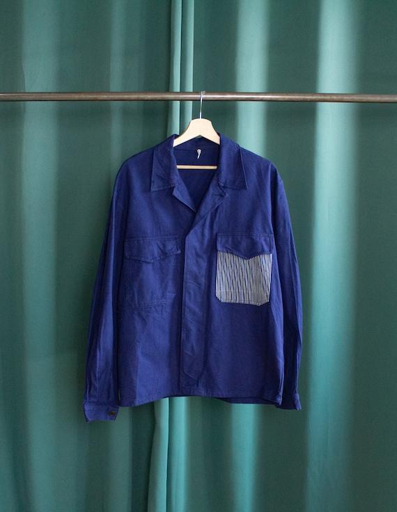 Vintage reworked blue work jacket / Reworked ameri