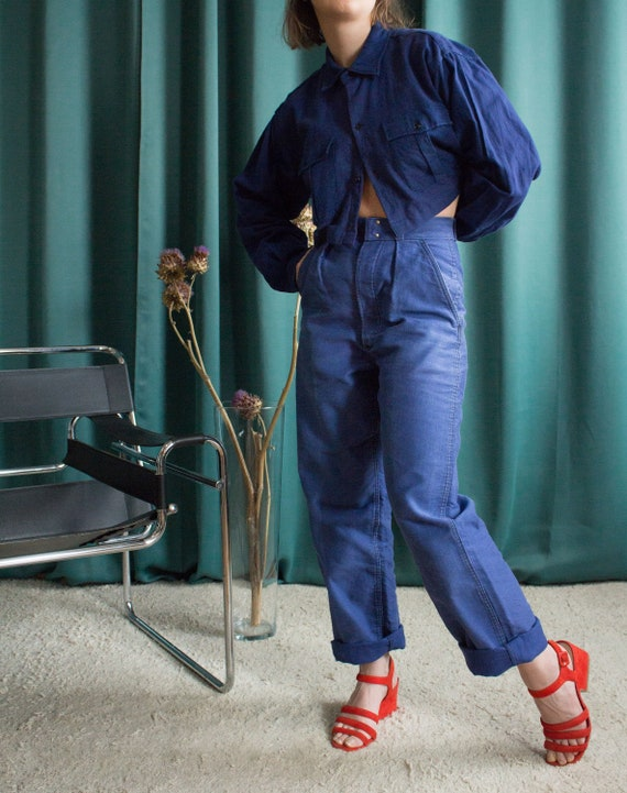 French vintage workwear blue moleskin pants / Fren