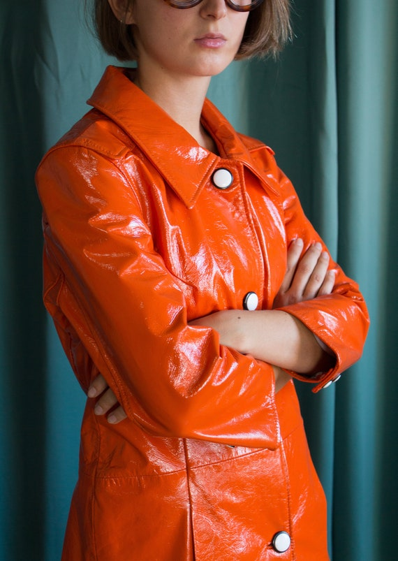 Orange vinyl trench coat / Vintage orange vinyl ef