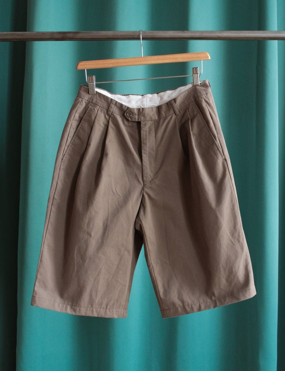 Vintage pleated shorts / Brown pleated bermuda