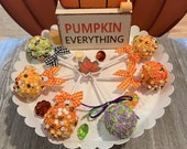 Faux cake pops,pumpkin pie cake pops,fake Halloween cake pops, fall fake cake pops, faux Halloween candy,faux fall candy, tier tray displays