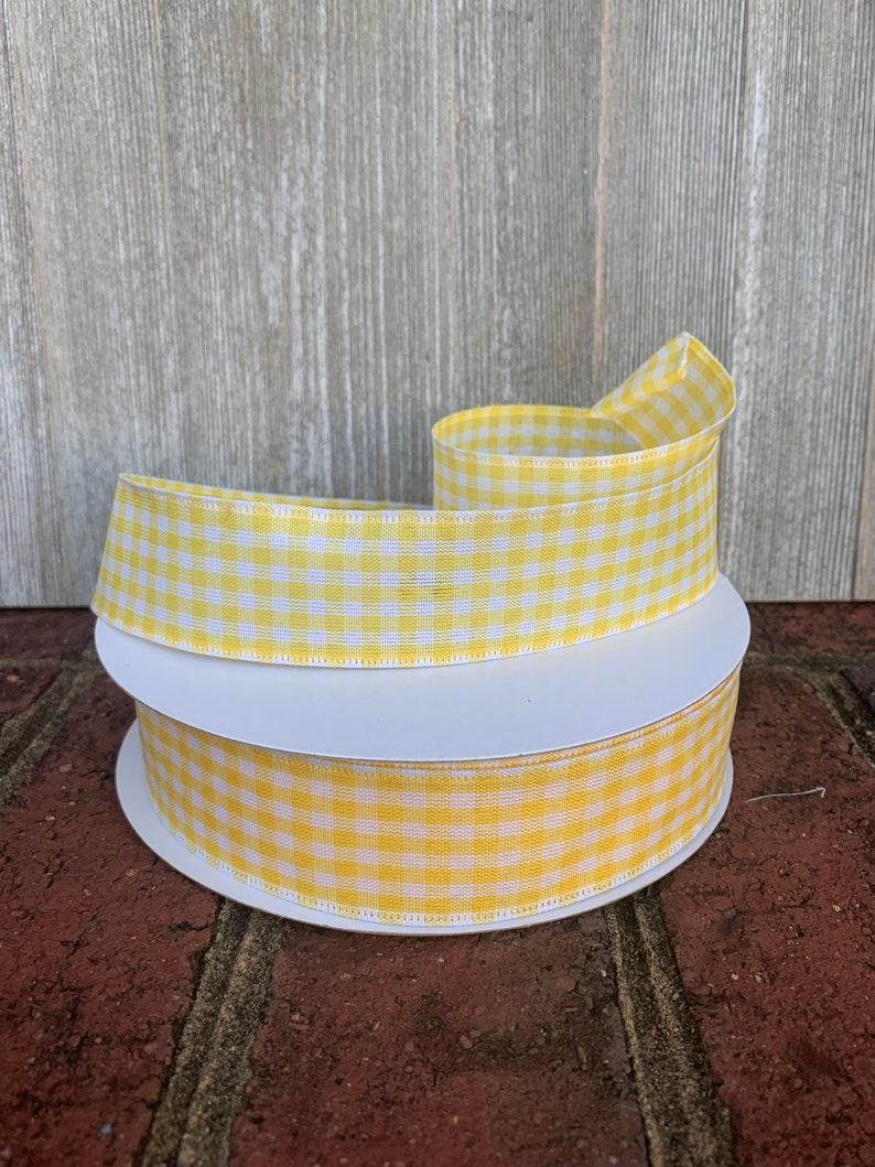 yellow and white gingham ribbon yellow square ribbon yellow and white spring wired ribbon,5 or 10 yrds yellow ribbon Yellow gingham ribbon