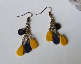 Long earrings mustard and plum