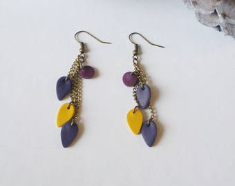 Long earrings mustard and plum Fimo