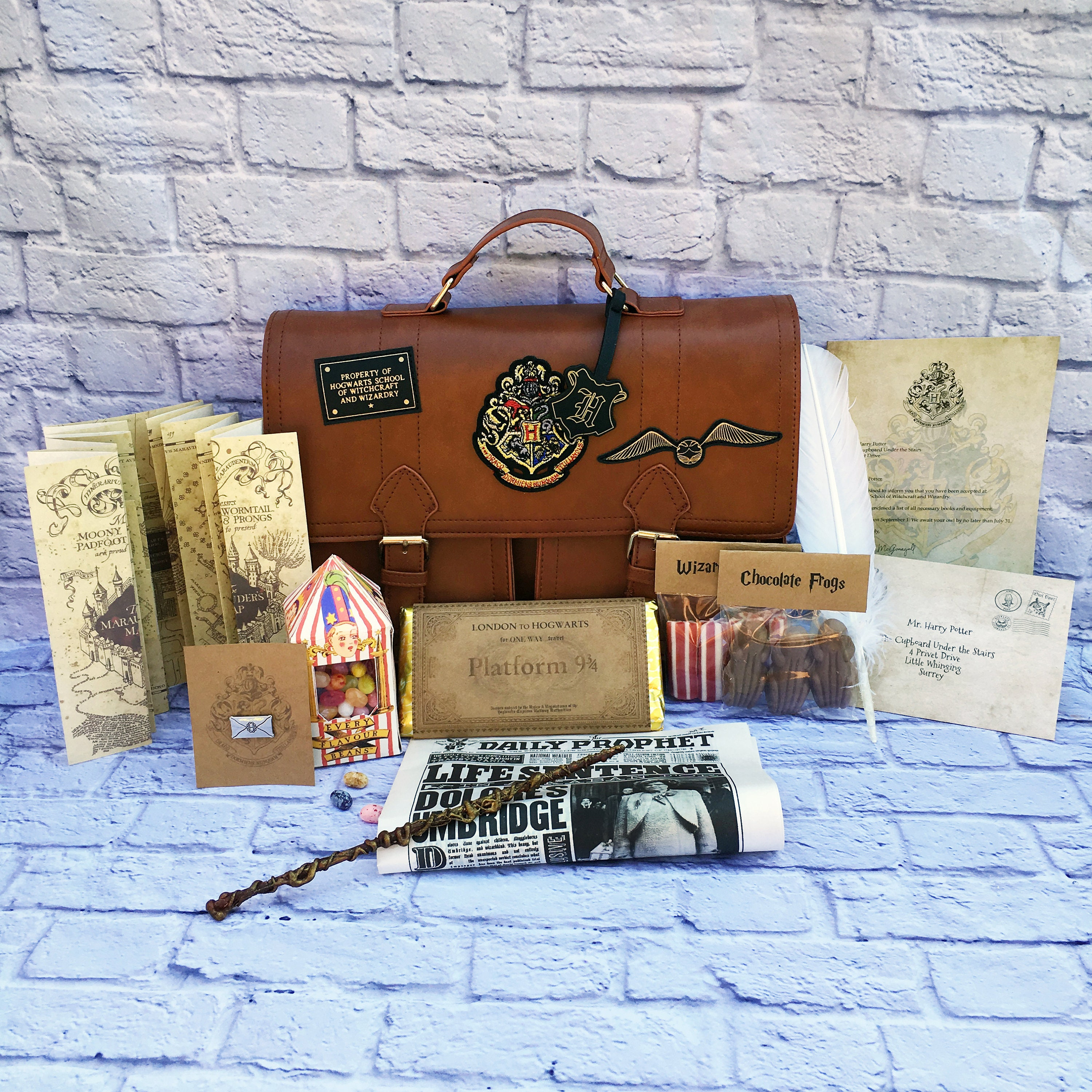 More Harry Potter Personalised Set Acceptance Letter Maps Wand Quill Bag Card