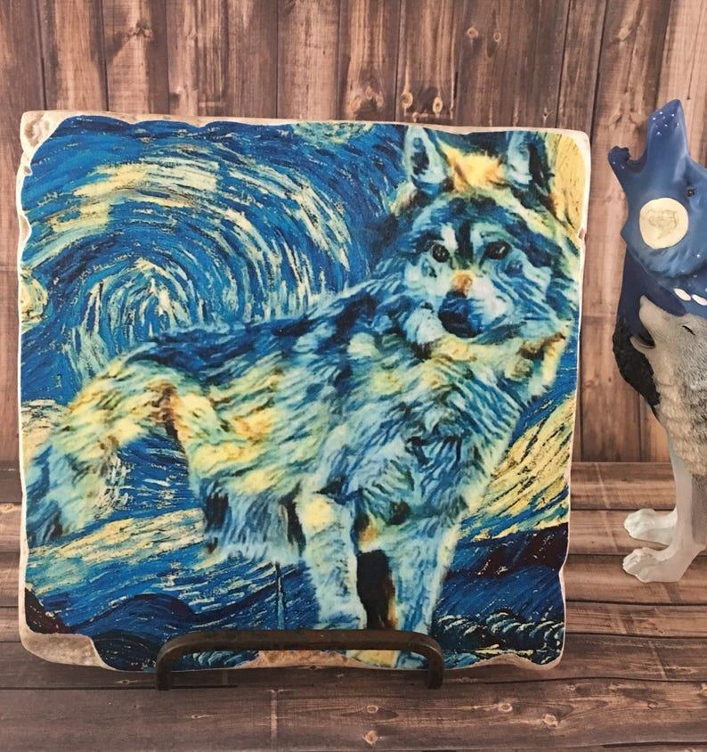 Starry Night Wolf 6x6 Stone Art Display  Wolf Art  Donation image 0