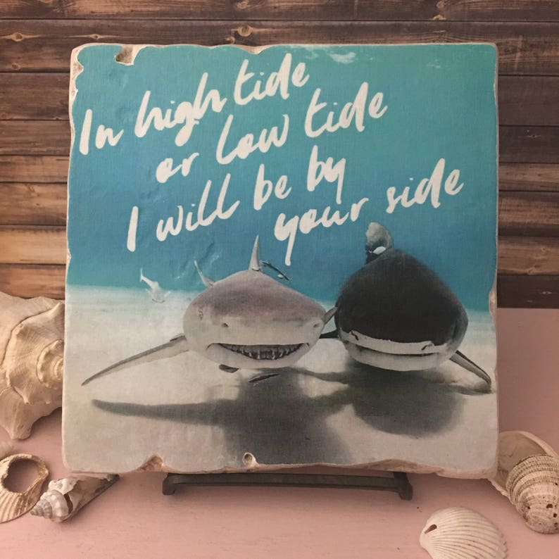 I'll Be By Your Side 6x6 Stone Art Piece  Shark Art  image 0