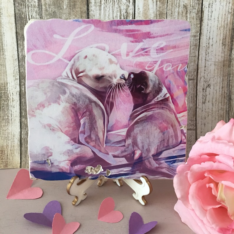 Kissing Sea Lions  6x6 Stone Art Piece  Donation to Pacific image 0