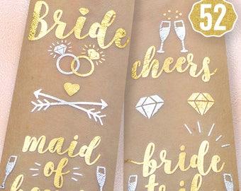 52 Bachelorette Party Flash Tattoos | Bride Tribe Favors | Bridesmaid Gift | Bachelorette Tattoos | Bridal Shower | Engagement Decoration