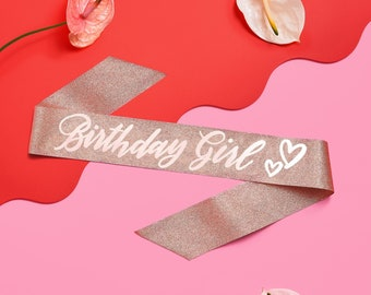 Konsait Glitter Rose Gold Its My 30th Birthday Sash-30 Fabulous Sash-Birthday Gifts Bday Accessories with Diamond Pin Cheers to Thirty Years Birthday Party Favors Supplies Decoration for Woman Girls