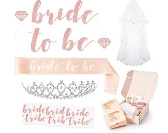 bachelorette party decorations kit rose gold bridal shower decorations bachelorette party favor bachelorette sash veil hen party