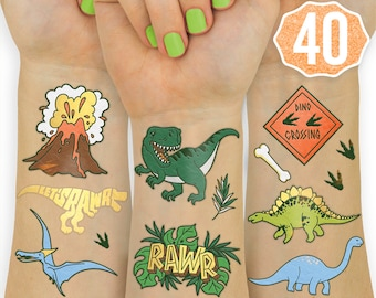 1c4e8ccfd Dinosaur Temporary Tattoos, Kids Temporary Tattoos Dinosaur Birthday Party  Supplies, Dinosaur Party Favors, T-rex Decorations, Dino Stickers