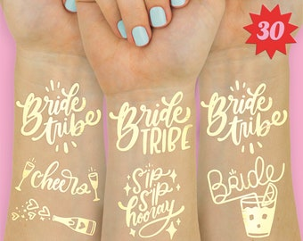 Bachelorette Tattoos | Bachelorette Party Favor | Bachelorette Party Decoration | Bride Tribe | Bride Gift | Temporary Hen Party Tattoos