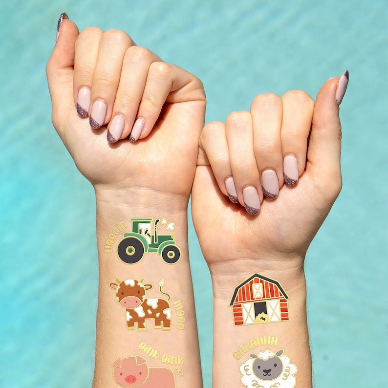 Horse 30 Glitter Styles Tractor Trailer Farm Party Supplies Temporary Tattoos Sheep Cow Petting Zoo Barnyard Animals