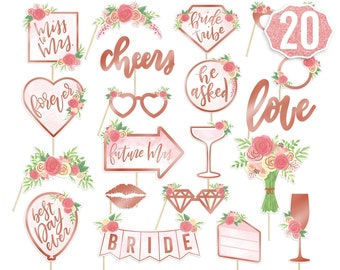 Bridal Shower Photo Booth Props - 21 pieces, pre-assembled - Rose Gold Bachelorette Party Decorations, Bride To Be, Miss to Mrs, Wedding