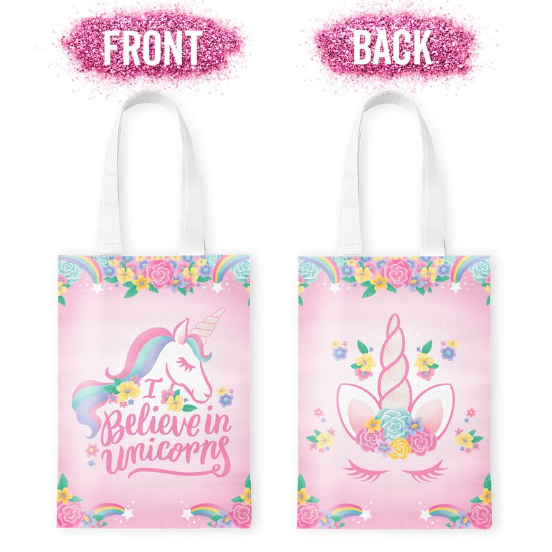 Unicorn Party Supplies Reusable Gift Tote Bag Goodie Birthday Party Decorations 10 Pack Baby Shower Unicorn Party Favors Gift Bag