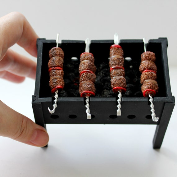 Dollhouse Shish-ke-bab Meat Veggies on Metal Skewer 1:12 Handcrafted Miniature