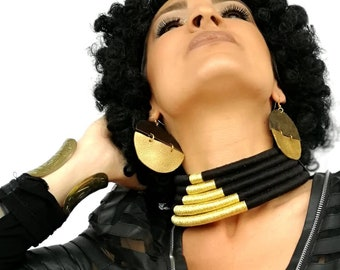 African Choker, Black Gold Choker, Statement Necklace, African Necklace, Rope Necklace, African Jewelry, African Jewellery