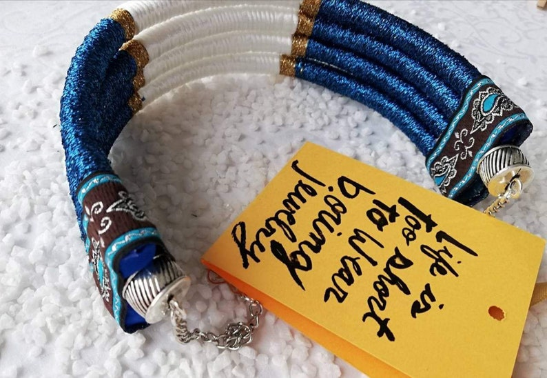 Christmas Gift for her Boho Jewelry Rope Necklace African Necklace Big Blue Choker Necklace Hippie Beach Jewellery Nautical Necklace