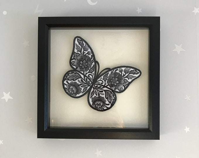 Deep Box Framed Decorative Embroidered Butterfly