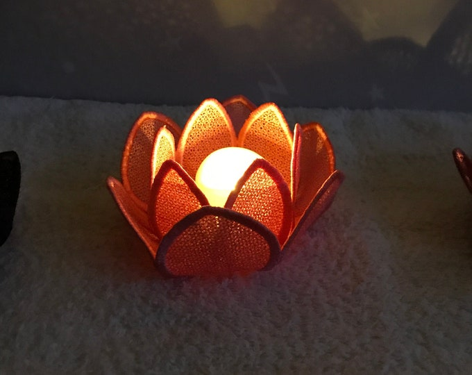 Embroidered Lotus Flower Candle Holder