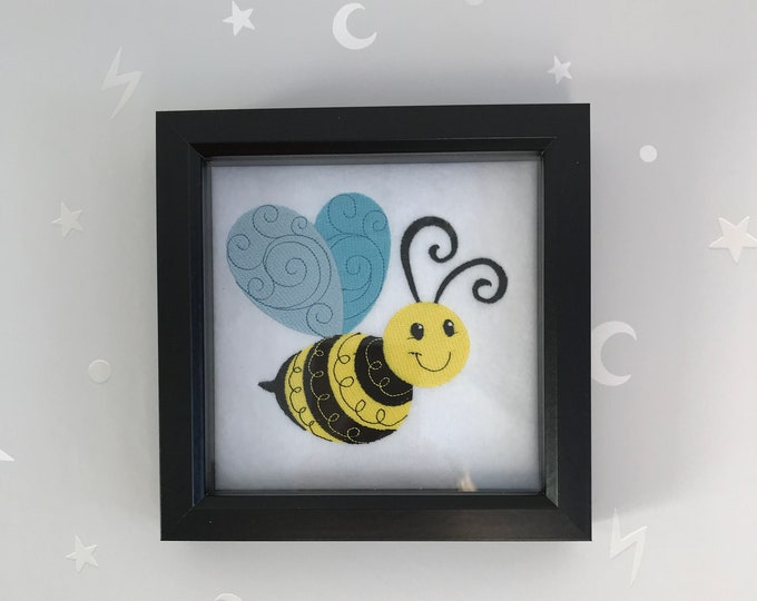 Deep Box Framed Happy Bee Embroidered