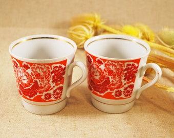 Floral tea cups of the Soviet time 1960s USSR mugs Soviet vintage cup Ukrainian cups Russian tea cup Porcelain cup little Russian porcelain