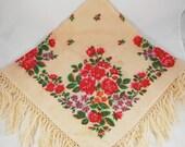 Russia floral wool shawl with fringe, Babushka scarf, Soviet vintage chale, Folk shawl, Headscarf for women