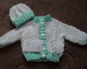 4c3115f0a Handmade Knitted Baby Cardigan and Hat set 0-3 months