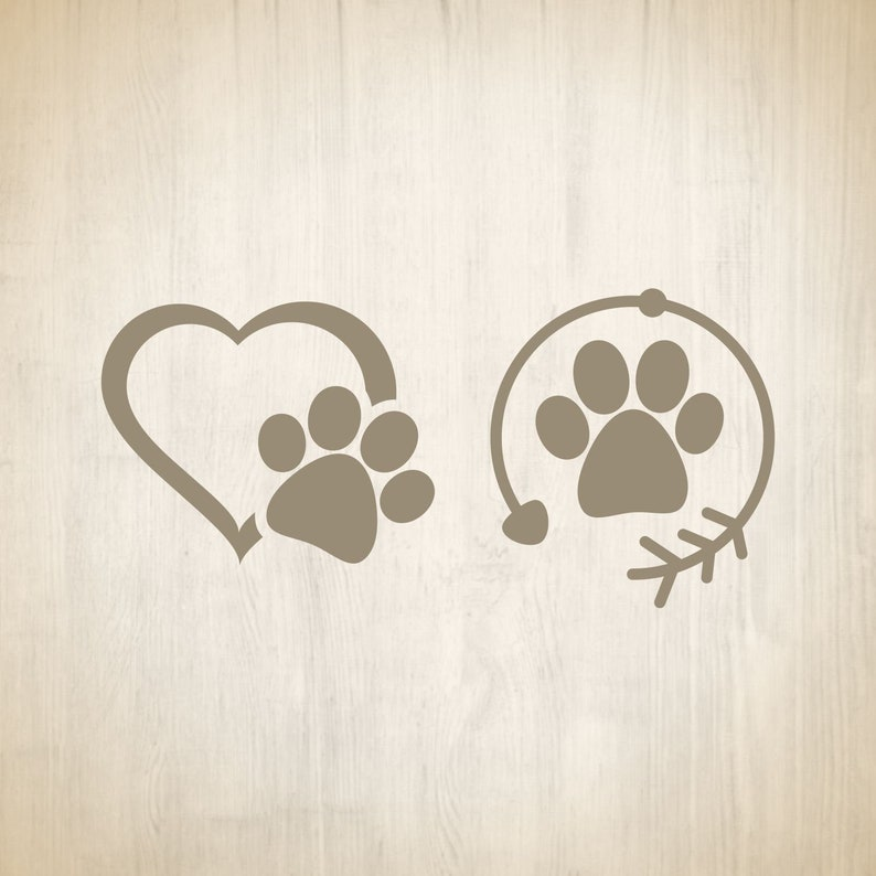 Print SVG paw svg heart paw svg paw cut file puppy heart puppy heart svg dog paw cricut printable instant download pawprint