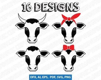 Cow Farm | Cow Bandana | Cow Sunglasses | Cow Face | SVG Vector Silhouette Card Cameo Cricut Cut File Clipart Dxf Png Eps