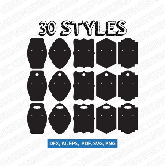 30 Styles Earring Display Cards Svg Earring Cards Svg Etsy