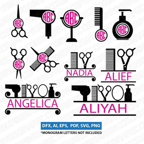 hairdresser hairstylist barber tools hair salon monogram frame etsy