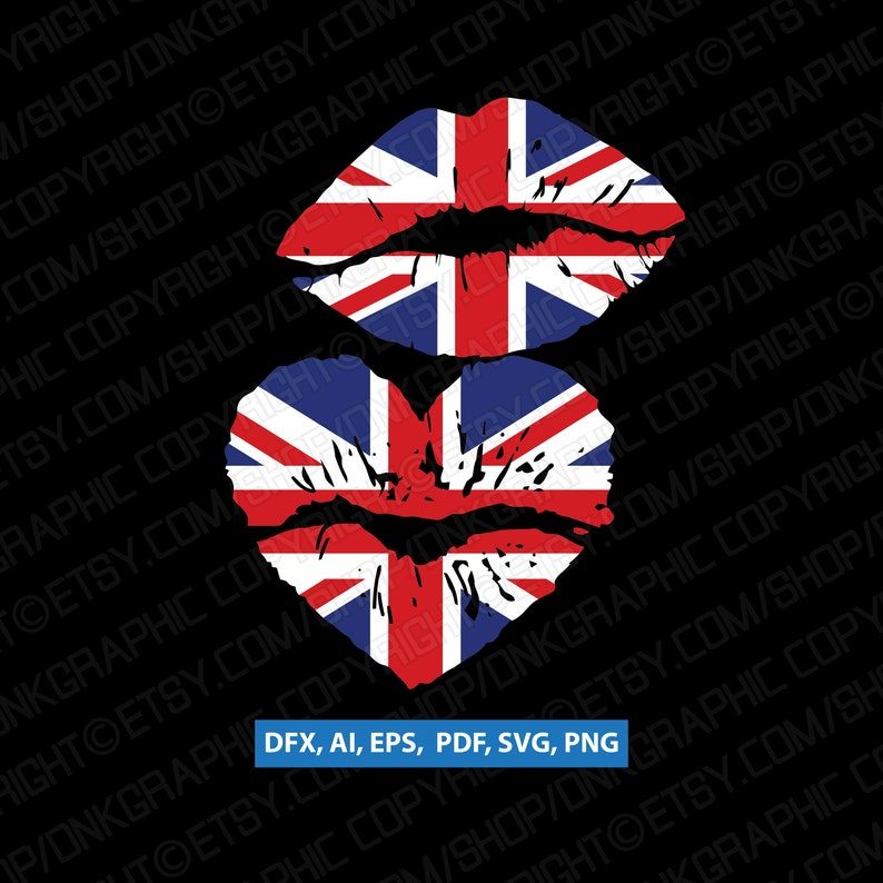 7e19b5d673 2 Styles United Kingdom Union Jack British UK Flag Lips In | Etsy