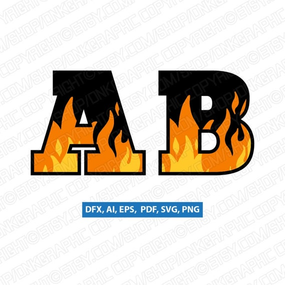 Blaze Flame Fire Burning Letter Font Alphabet Lettering Etsy
