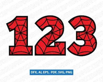SpiderWeb Spiderman Numbers First Second Third Fourth Fifth 1st 2nd 3rd 4th 5th Birthday Party SVG Vector Cricut CutFile Clipart Png Eps Dxf