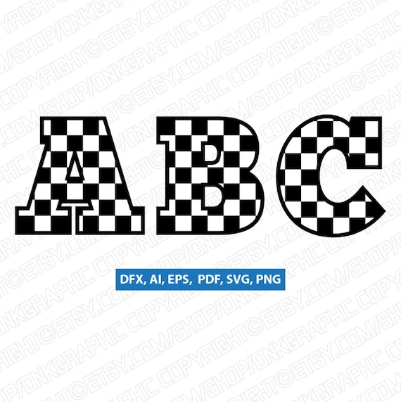 Racing Checkered Letters Fonts Alphabet Birthday Party Svg Etsy