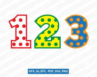 Polka Dot Numbers first second third fourth fifth 1st 2nd 3rd 4th 5th birthday party   SVG Vector Cricut Cut File Clipart Png Eps Dxf