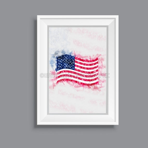 picture regarding Printable Usa Flag called United states Flag Printable The us Poster Watercolor Portray Impact House Decor American Wall Artwork Electronic Obtain