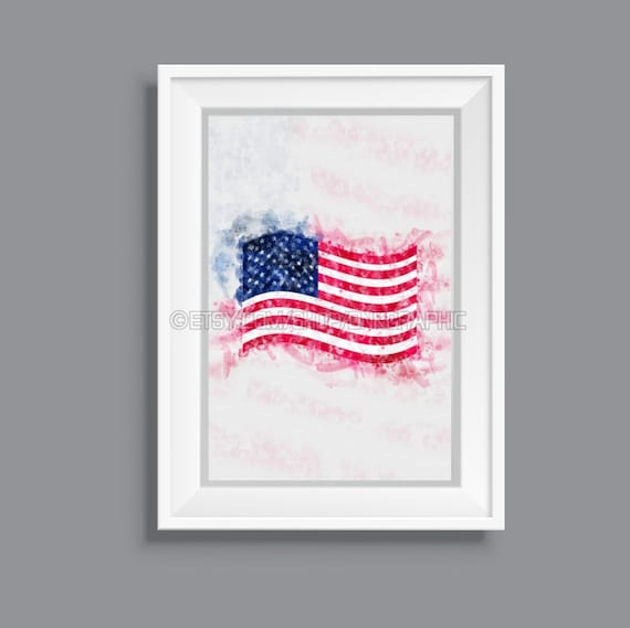 graphic relating to Printable Usa Flag referred to as United states of america Flag Printable The usa Poster Watercolor Portray Affect House Decor American Wall Artwork Electronic Down load