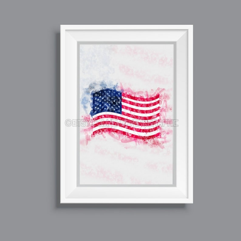 picture regarding Usa Flag Printable identified as United states Flag Printable The us Poster Watercolor Portray Impression Space Decor American Wall Artwork Electronic Down load